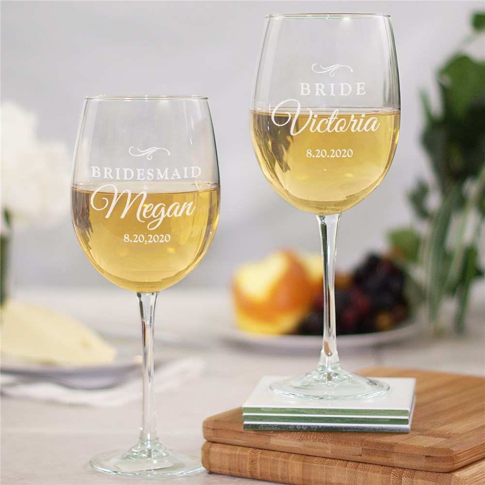 Engraved Bridal Party Wine Glass | Personalized Bridesmaid Gifts