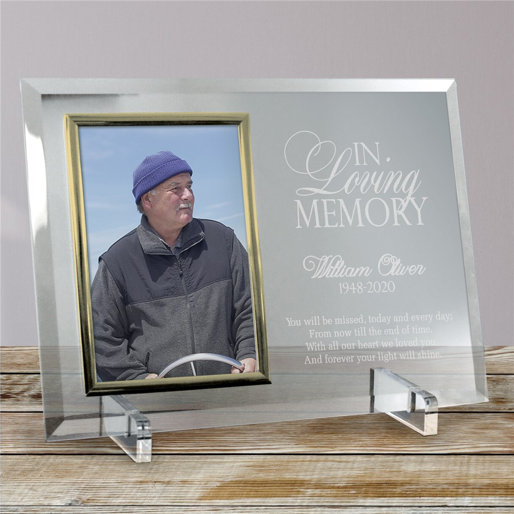 Engraved Memorial Beveled Glass Picture Frame | Personalized Picture Frames