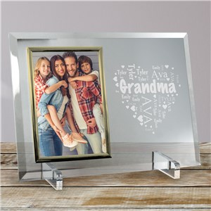 Engraved Grandma's Heart Word-Art Beveled Glass Frame | Mother's Day Gifts