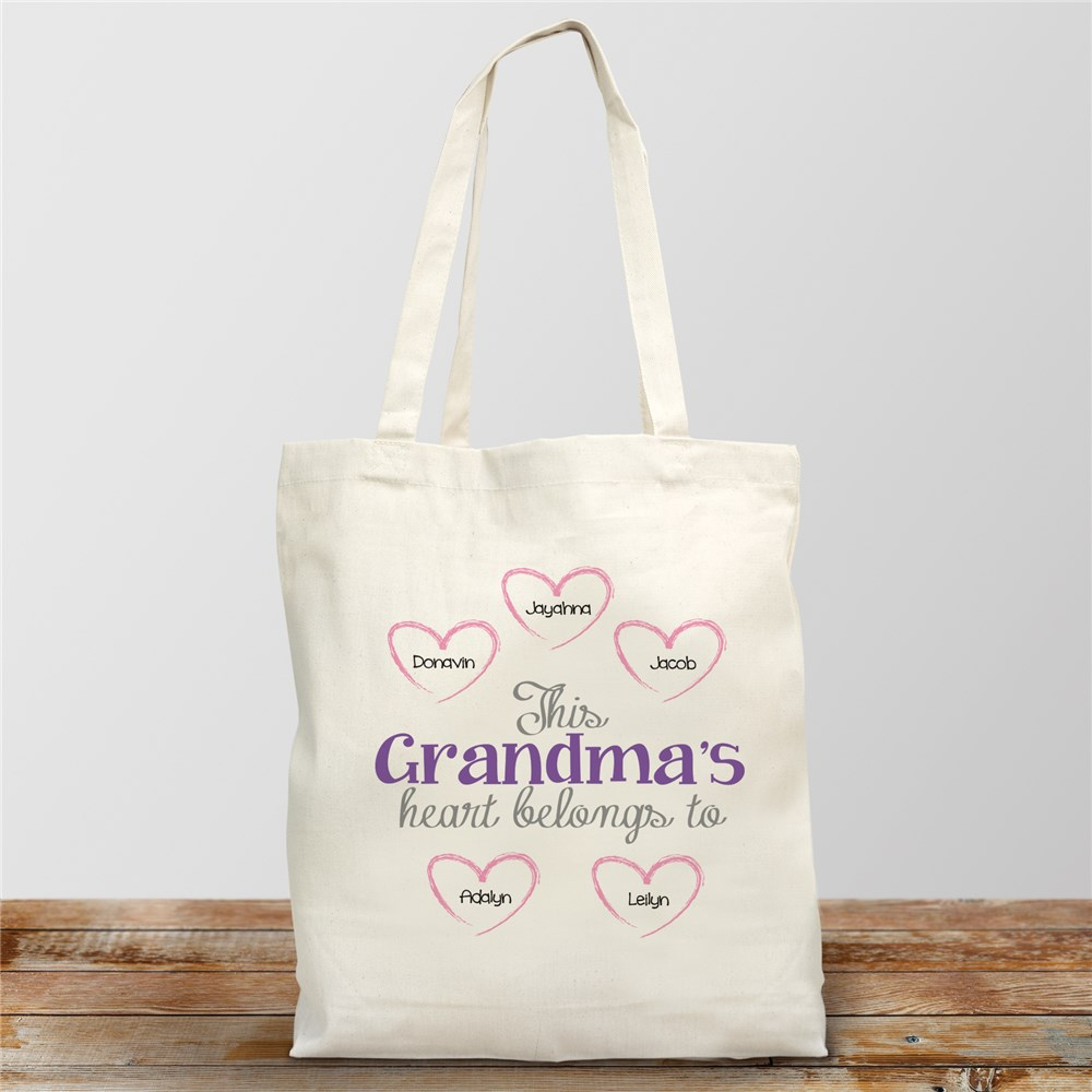 Personalized Heart Belongs To Canvas Tote Bag | Personalized Gifts For Grandma