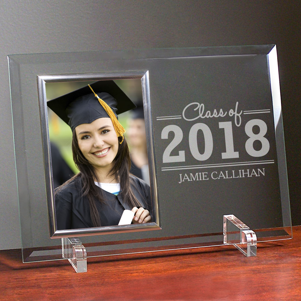 Engraved Graduation Beveled Glass Frame | Personalized Graduation Picture Frames