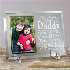 Daddy Word-Art Beveled Glass Picture Frame | Personalized Fathers Day Picture Frames