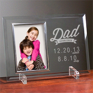 Engraved Dad Established Glass Frame | Dad Picture Frames