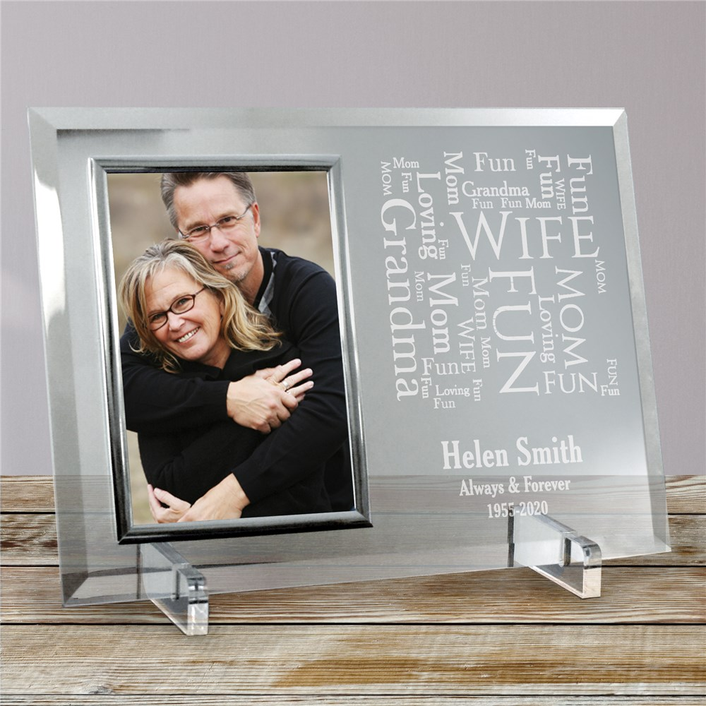 Memorial Word-Art Beveled Glass Picture Frame | Personalized Word Art