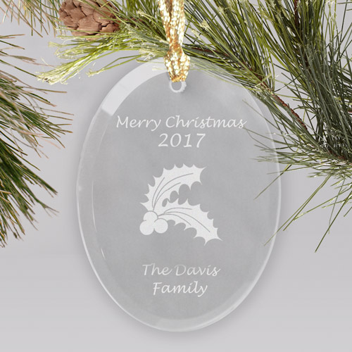 Happy Holidays Personalized Glass Ornament | Personalized Ornament