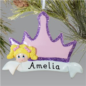 Personalized Blonde Hair Princess Crown Ornament | Kids Christmas Ornaments