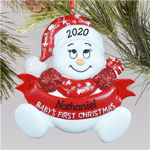 Personalized Baby's First Christmas Snowman Ornament | Baby's First Christmas Ornaments