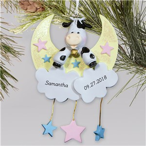 Personalized Cow Jumped Over The Moon Ornament | Baby's First Christmas Ornaments