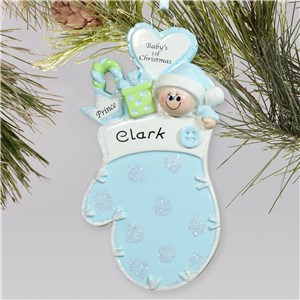 Baby's First Christmas Blue Mitten Ornament | Baby's First Christmas Ornaments