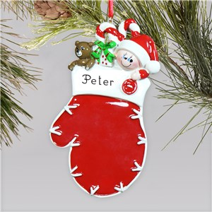 Personalized Red Mitten Baby Ornament | Baby's First Christmas Ornaments