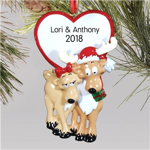 Personalized Reindeer Couple Ornament | Personalized Couples Ornament