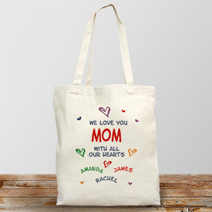 All Our Hearts Personalized Canvas Tote Bag