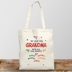 All Our Hearts Personalized Canvas Tote Bag | Personalized Gifts For Grandma