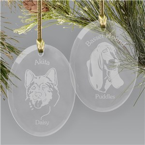 Engraved Dog Breed Glass Ornament | Personalized Pet Ornaments