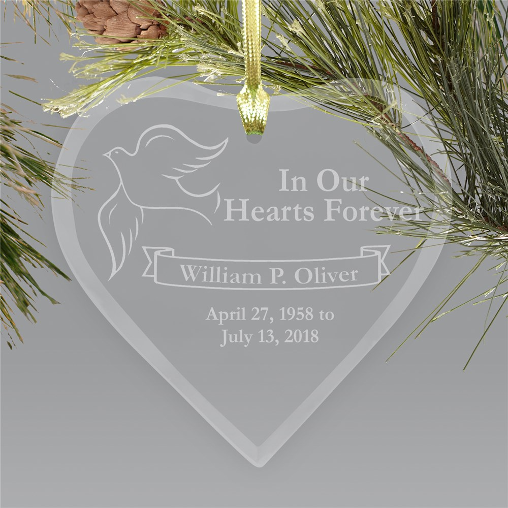 Engraved Heart Sympathy Remembrance Ornament | Memorial Ornaments