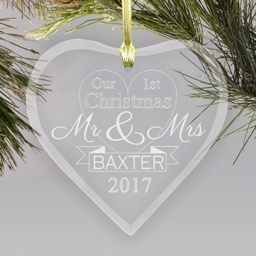 Engraved First Christmas as Mr and Mrs Glass Heart Ornament | Couples First Christmas Ornament