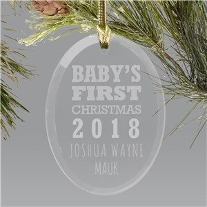 Engraved Glass Baby's First Christmas Ornament | Baby's First Christmas Ornaments