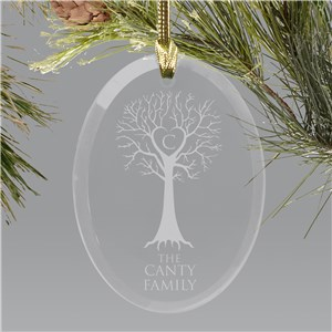 Engraved Family Tree Oval Glass Christmas Ornament