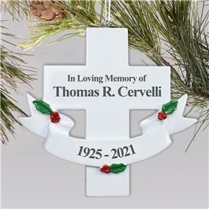 Engraved In Loving Memory Cross Ornament | Memorial Christmas Ornaments