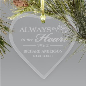Personalized Memorial Heart Ornament | Always In My Heart | Personalized Memorial Ornaments