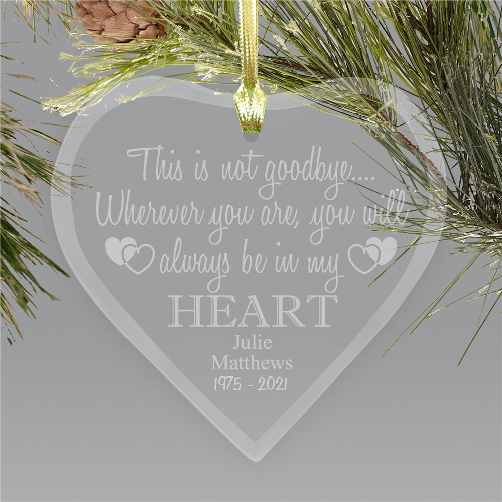 Engraved Memorial Heart Ornament | Glass | Memorial Ornament
