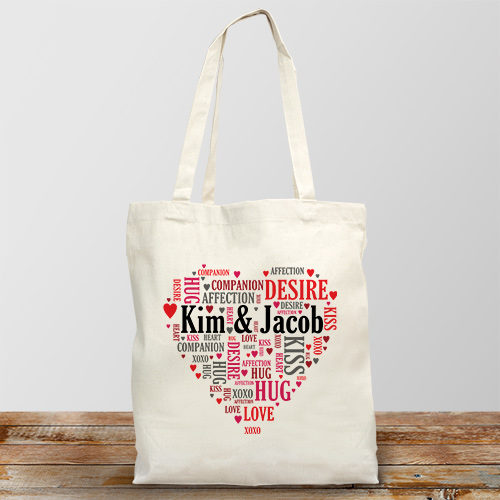 Couples Love Word-Art Tote Bag | Personalized Valentines Day Gifts For Her