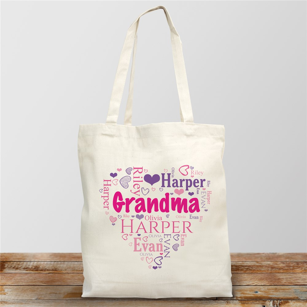 Grandma's Heart Word Art Tote Bag | Personalized Mom Gifts
