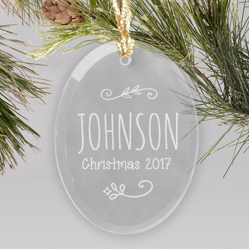 Engraved Family Name Glass Ornament | Personalized Ornament