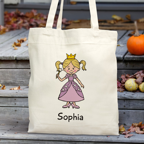 Personalized Halloween Characters Tote Bag | Personalized Trick-Or-Treat Bags