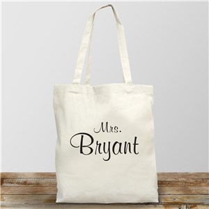 Mrs. Personalized Canvas Tote Bag