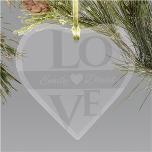 Love Glass Heart Ornament | Personalized Couples Ornament