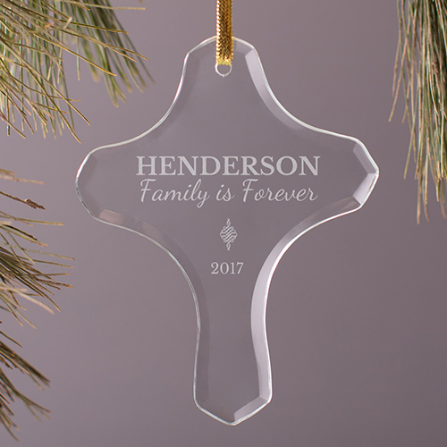 Family Is Forever Glass Cross Ornament | Personalized Family Ornaments