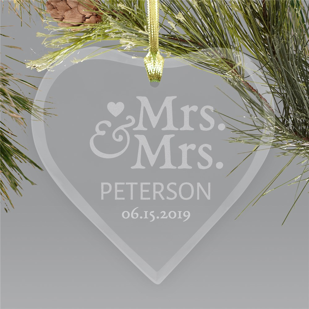 Mr. and Mrs. Glass Heart Ornament | Personalized Couples Ornament