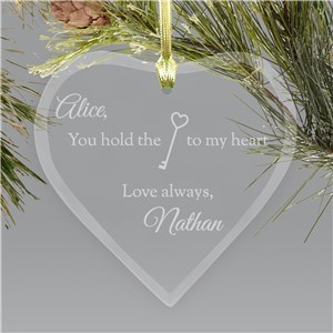 Engraved Key to My Heart Glass Ornament | Personalized Couples Ornament
