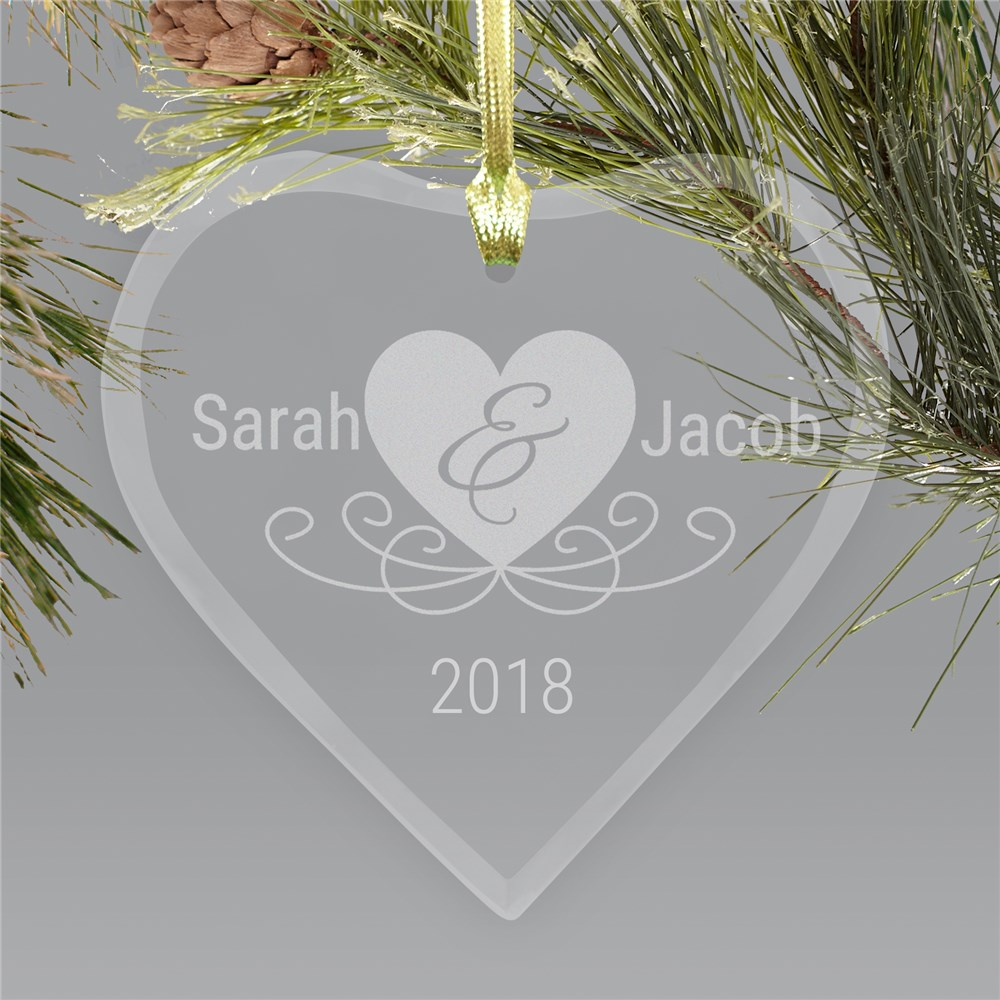 Couple's Love Glass Heart Ornament | Personalized Couples Ornament