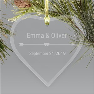 Engraved Cupid's Arrow Glass Heart Ornament | Personalized Couples Ornament