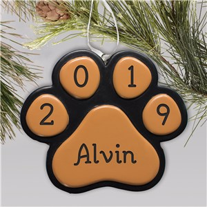 Engraved Paw Print Christmas Ornament | Personalized Dog Ornaments