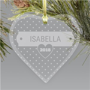 Engraved Polka Dots Heart Ornament | Kids Christmas Ornaments