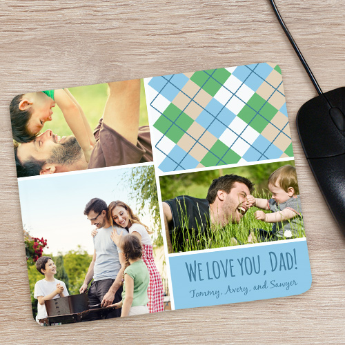 Personalized Dad Plaid Photo Collage Mousepad | Home Office Gifts for Dad
