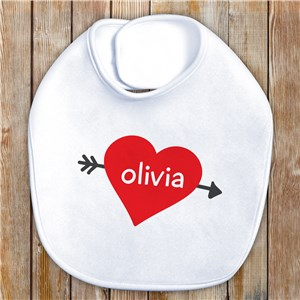 Cupid's Heart Personalized Baby Bib | Baby Bib for Valentine's Day