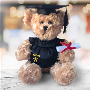 Personalized Graduation Cap and Gown Beige Plush Bear 90170320