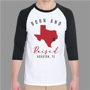 Personalized Born and Raised Raglan Shirt