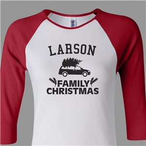 Personalized Family Christmas Shirt | Women's Raglan Christmas Shirt