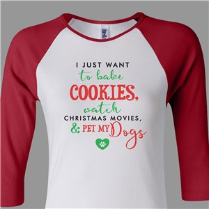 Personalized Bake Cookies Women's Raglan Shirt
