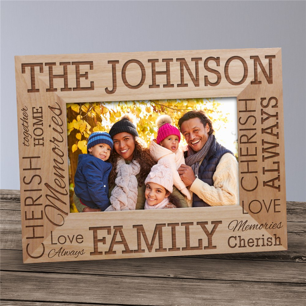 Engraved Family Name Wood Frame | Father's Day Gifts