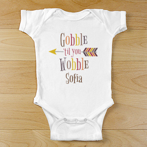 Personalized Gobble Till You Wobble Infant Apparel | Personalized Baby Gifts