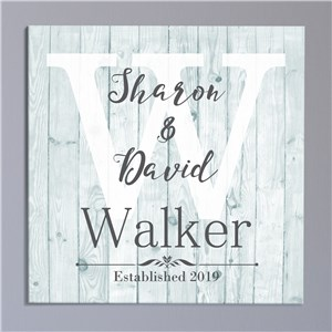 Personalized Couple's Wood Look Canvas