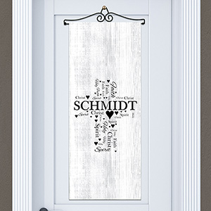 Religious Word-Art Door Banner | Personalized Cross Door Decoration