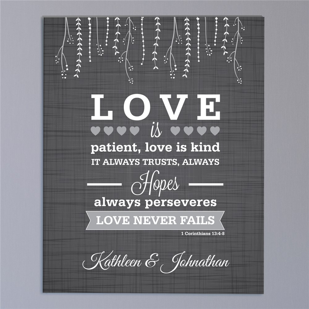 Personalized Love is Patient Wedding Canvas | Personalized Couple Gifts