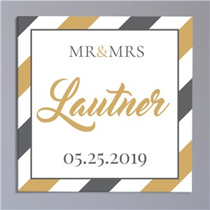 Personalized Striped Mr & Mrs Canvas | Canvas Prints